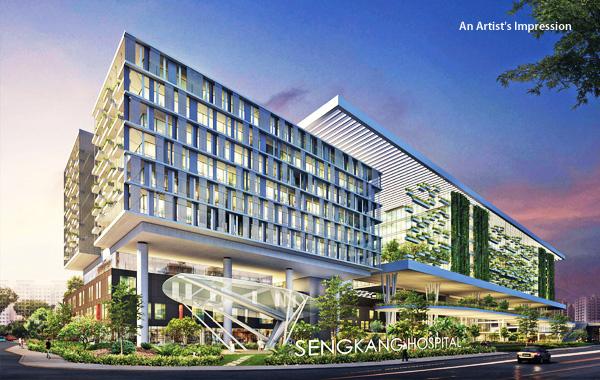 Sengkang Hospital near the Treasure Crest EC
